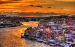 Dramatic sunset over Porto - Portugal